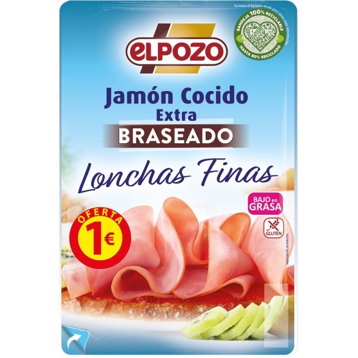 JAMÓN COCIDO BRASEADO BAJO GRASA LONCHAS EL POZO 85G