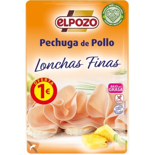 PECHUGA POLLO BAJO GRASA LONCHAS EL POZO 90G
