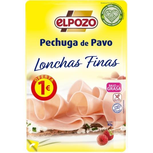 PECHUGA PAVO BAJO GRASA LONCHAS EL POZO 90G