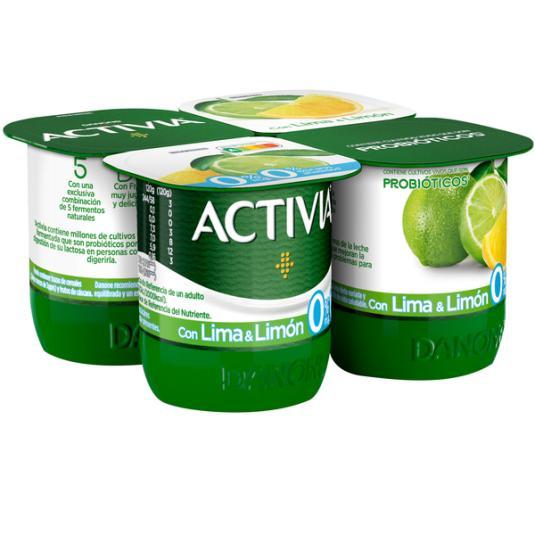 YOGUR BIFIDUS DESNATADO LIMA LIMON ACTIVIA 0% DANONE P4 125G/U
