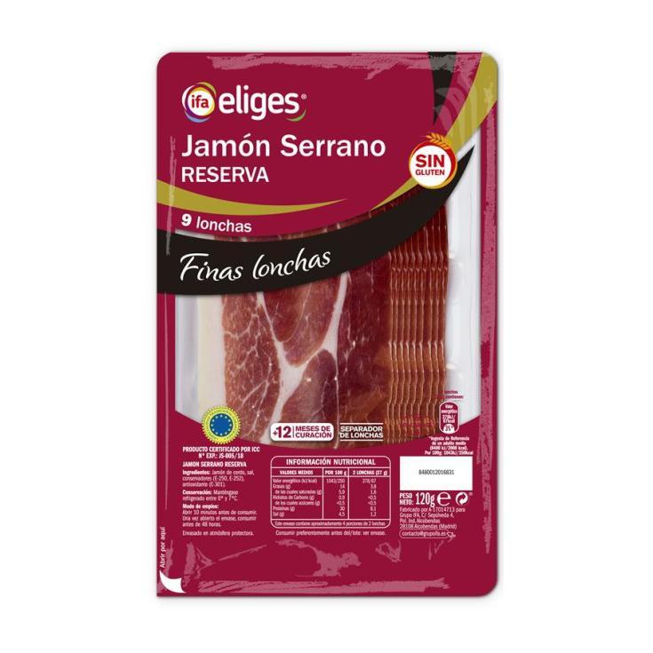 JAMON SERRANO FINAS LONCHAS IFA ELIGES 120GR