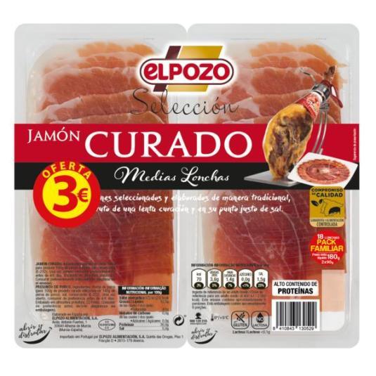 JAMON CURADO MEDIAS LONCHAS EL POZO P2 90G/U