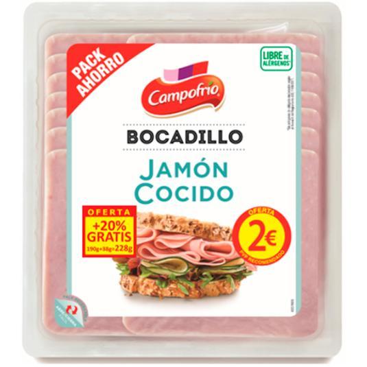 JAMON COCIDO BOCADILLO 2€ CAMPOFRIO 190G