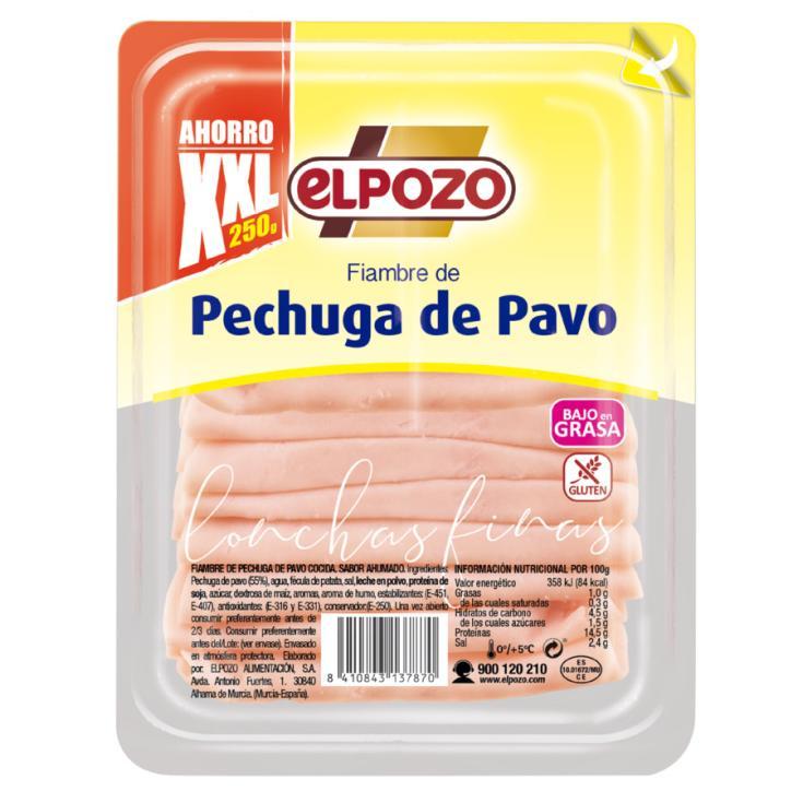 PECHUGA PAVO FINAS LONCHAS XXL EL POZO 250G