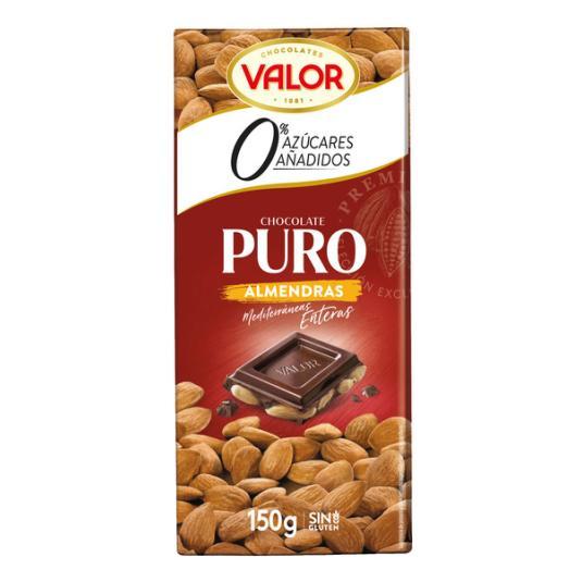 CHOCOLATE S/A PURO CON ALMENDRAS VALOR 150G