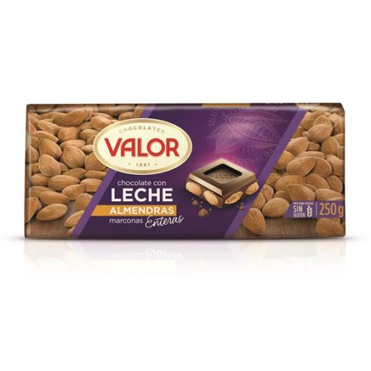 CHOCOLATE LECHE CON ALMENDRA VALOR 250G