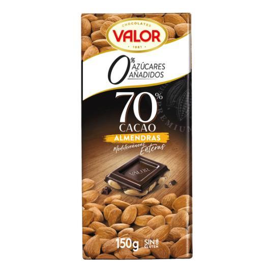 CHOCOLATE S/A NEGRO 70% CON ALMENDRAS VALOR 150G