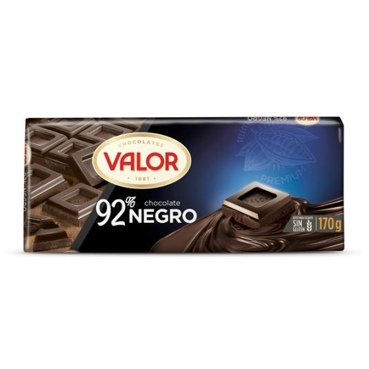 CHOCOLATE NEGRO 92% VALOR 170G