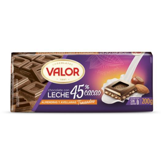 CHOCOLATE LECHE 45% ALMENDRA/AVELLANA VALOR 170G