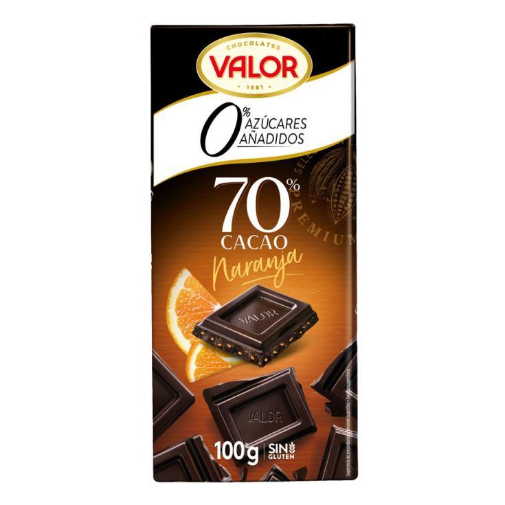 CHOCOLATE NEGRO C/NARANJA S/AZÚCAR 70% VALOR 100G