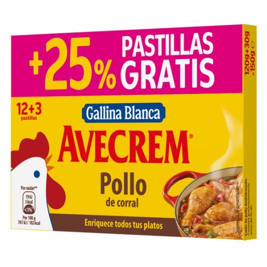 PASTILLA CALDO POLLO AVECREM 12U