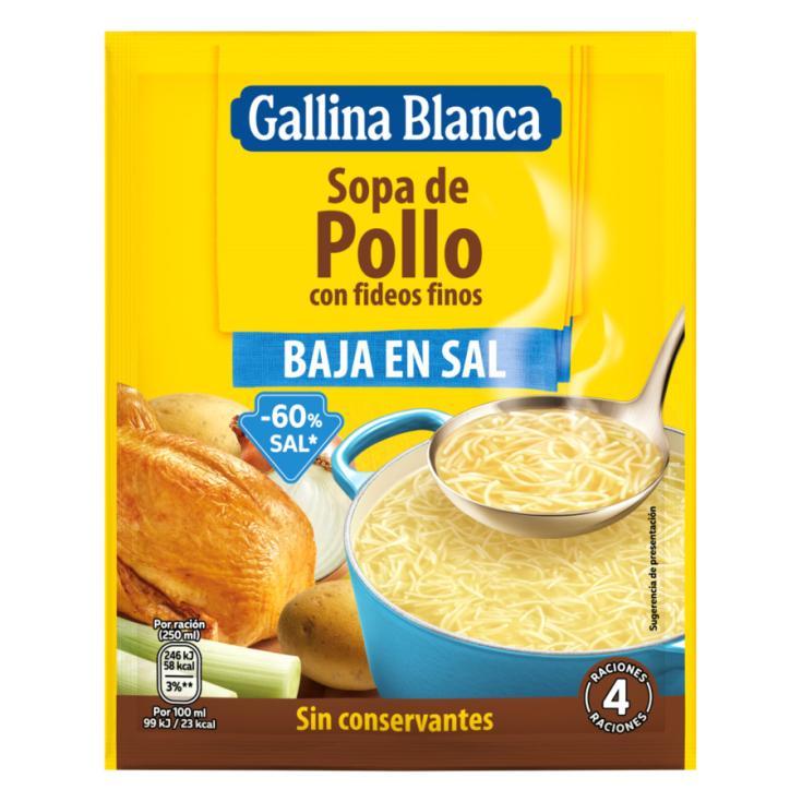 SOPA SOBRE POLLO C/FIDEOS B/SAL GALLINA BLANCA 85G