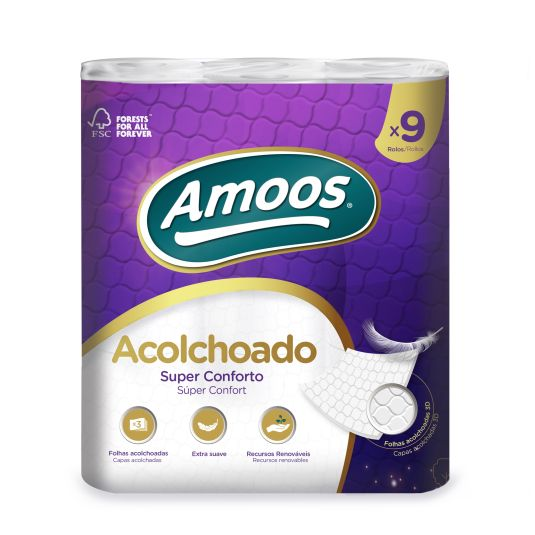 PAPEL HIGIENICO 3 CAPAS ACOLCHADAS AMOOS P9