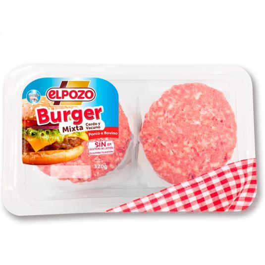 HAMBURGUESA BURGER MEAT MIXTA DE CERDO VACUNO 320G EL POZO