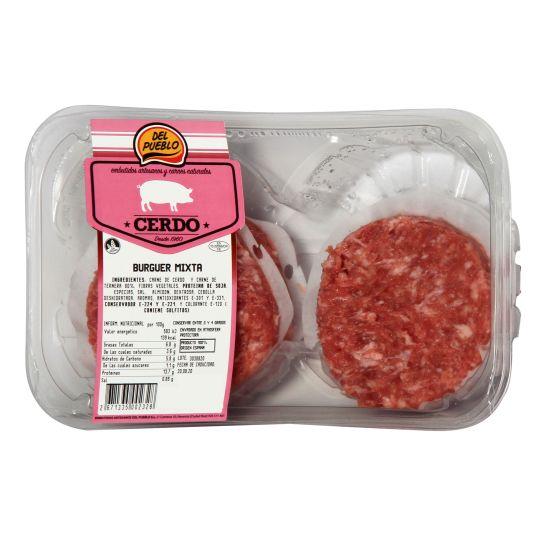 HAMBURGUESA BURGER MEAT MIXTA DE VACUNO Y CERDO 320G EMB DEL PUEBLO